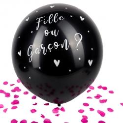 Ballon Géant noir fille ou Garçon Confettis roses 60 cm