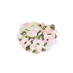 Confettis en papier rose, blanc et or