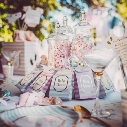 10 pochettes baby shower rose