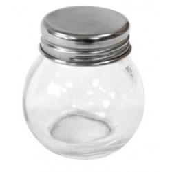 Petit pot en verre avec couvercle en acier