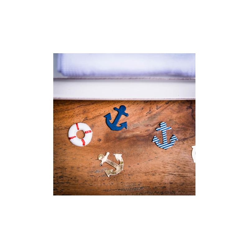 100 confettis ancres marine, blanc et or