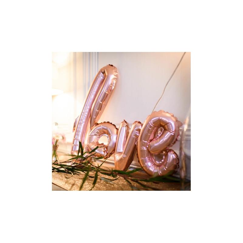 """Ballon """"love"""" métal rose gold"""