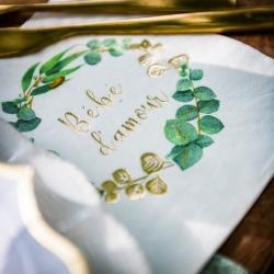 16 serviettes bébé d'amour 3 plis Eucalyptus dorure Or