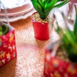Chemin de table rose gold