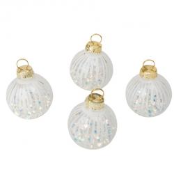 4 Marques places boules de Noel transparent blanc et irissé 5CM