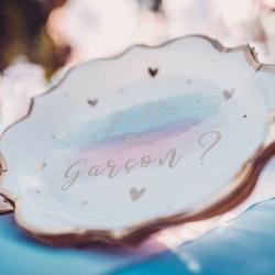 8 assiettes gender reveal blanc rose et bleu avec dorure