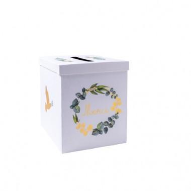 Urne communion eucalyptis colombe papier texture dorure or