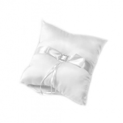 Coussin alliances gm noeud + strass Blanc