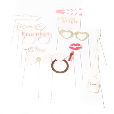 kit photobooth mariage rose gold 12 pieces