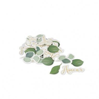 100 confettis Amour Eucalyptus papier texture dorure or