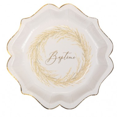 8 assiettes Baptême jolie Pampa papier texture embossé Or