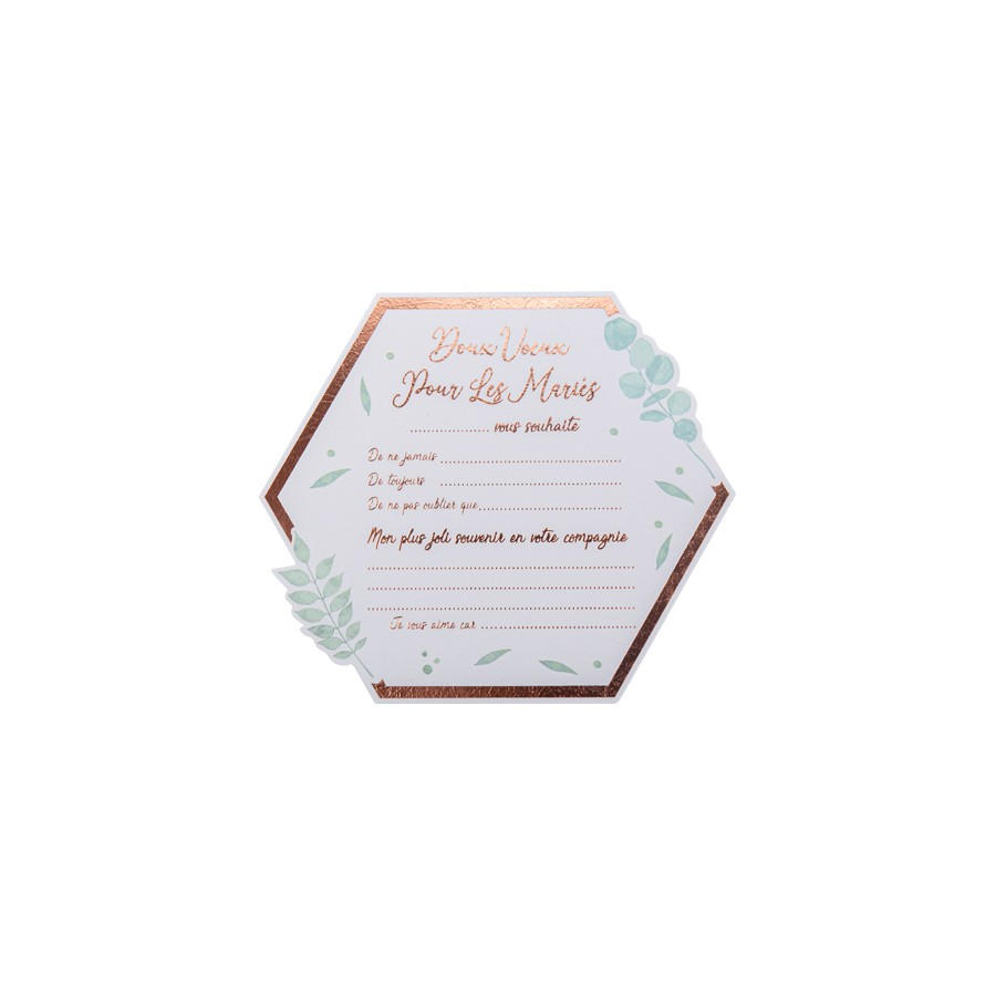 10 cartes de vœux botanique Rose Gold papier texture