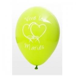 """Ballon imprime """"vive les maries""""  menthe"""