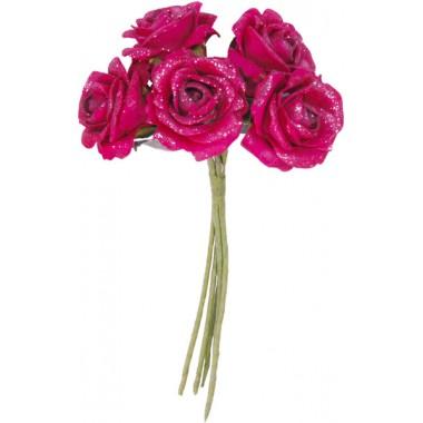 Bouquet de 5 roses pailletées