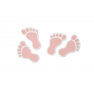 Confettis de table pieds bébé rose (x 10)