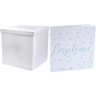 ack Pack urne carrée et Livre d'or Baptême (Vert menthe)