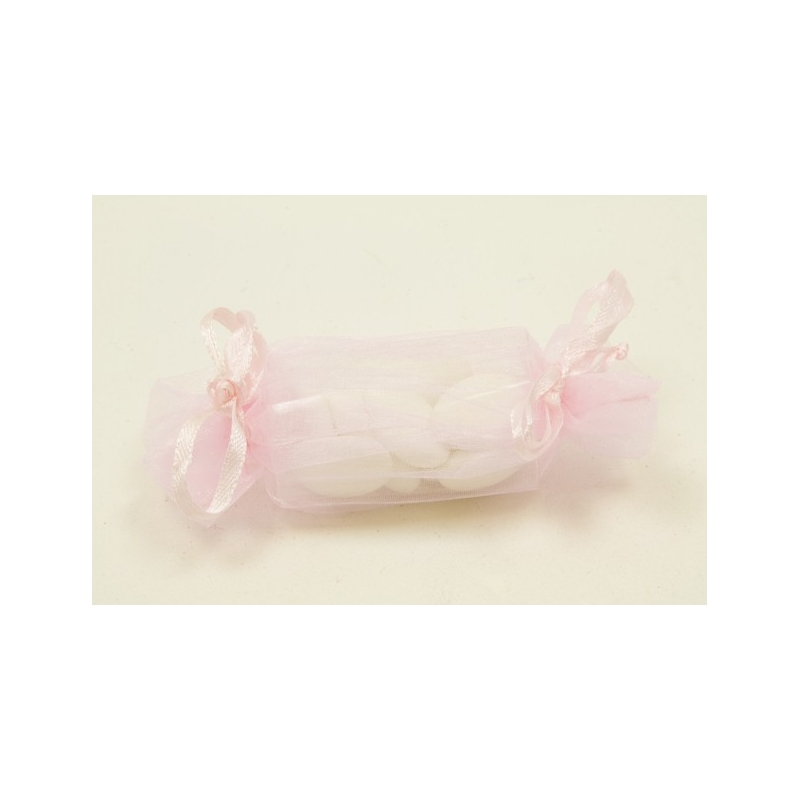 Sacs organza forme bonbon rose
