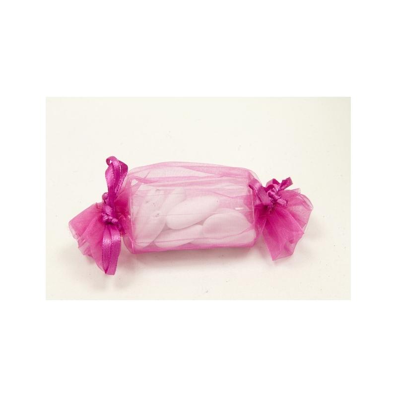 Sac organza forme bonbon fushia