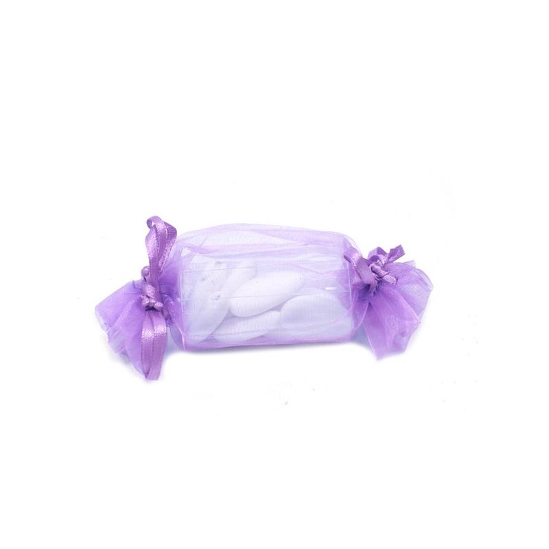 Sac organza forme bonbon couleur Parme