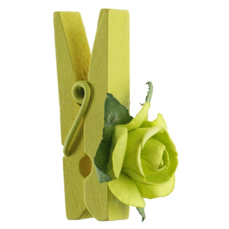 Rose sur pince verte
