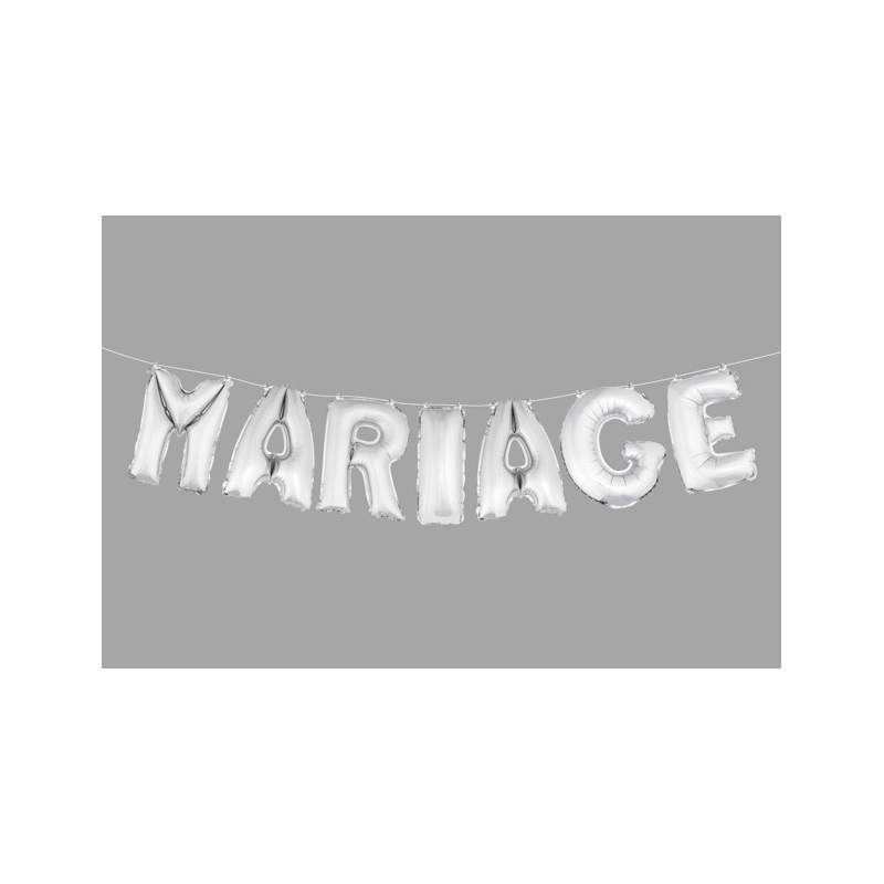 """BALLONS LETTRES """"MARIAGE"""" ARGENT  pcs haut.  cm"""
