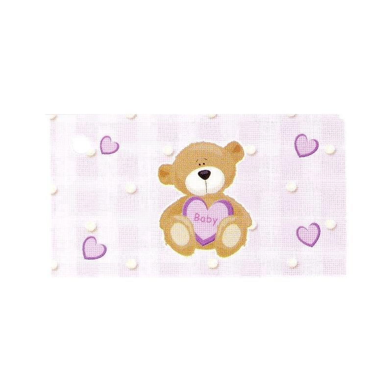 Etiquette Bapteme / Naissance (X10)Rose avec un ravissant petit ourson.