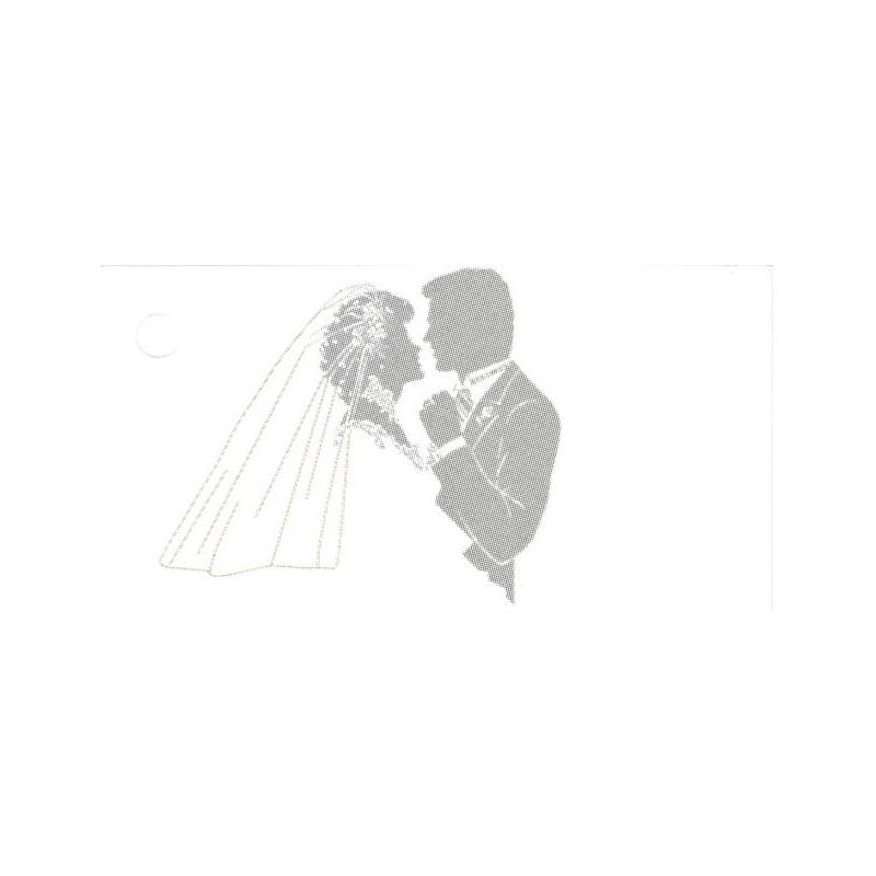 Jolies étiquettes En Noir Et Blanc Représentant Un Couple De Mariés Qui Dansent