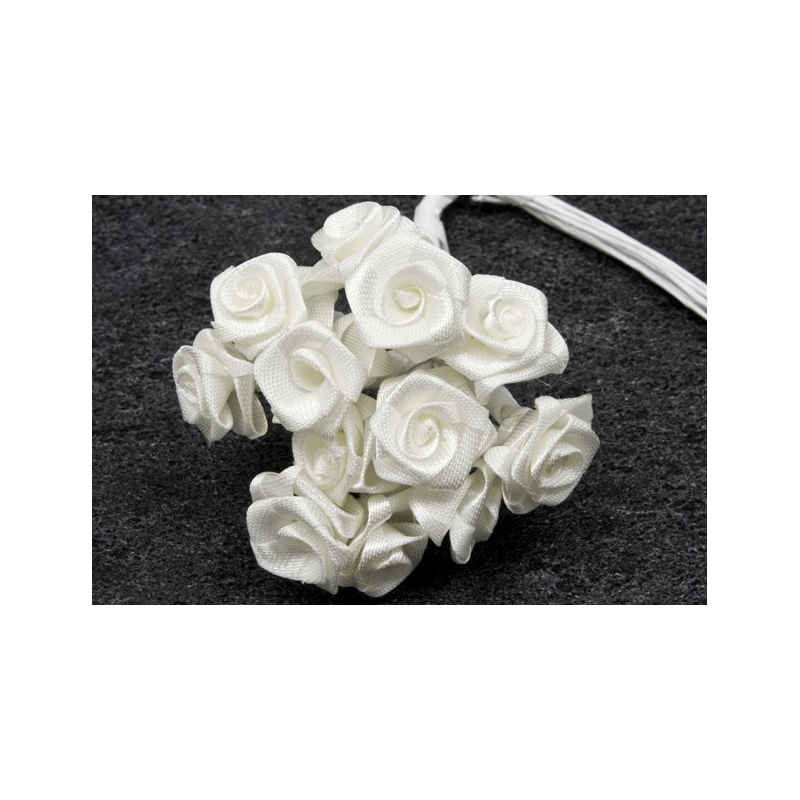 MINI-ROSE EN SATIN BLANC