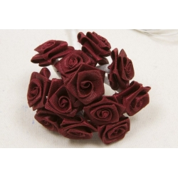 Mini-roses en satin Bordeaux X72
